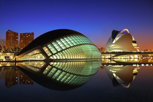 フリー画像| 人工風景| 建造物/建築物| 夜景| 芸術科学都市| スペイン風景| バレンシア| HDR画像|