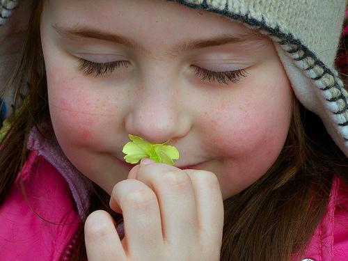 フリー画像| 人物写真| 子供ポートレイト| 少女/女の子| 外国の子供| 匂い/香り| 目を閉じる|