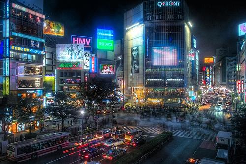 フリー画像| 人工風景| 建造物/建築物| 街の風景| 夜景| ビルディング| 日本風景| 東京| 渋谷|