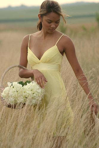 フリー画像| 人物写真| 女性ポートレイト| アジア女性| 草原の風景| ドレス|