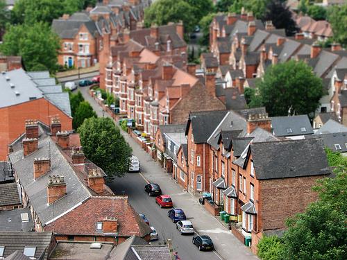 フリー画像  人工風景  建造物/建築物  街の風景  レンガ造り  ティルト・シフト    イギリス風景  ノッティンガム 