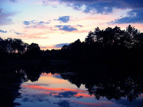 フリー画像| 自然風景| 湖の風景| 夕日/夕焼け/夕暮れ|