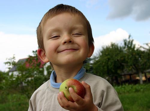 フリー画像| 人物写真| 子供ポートレイト| 少年/男の子| 外国の子供| 笑顔/スマイル| 林檎/リンゴ|