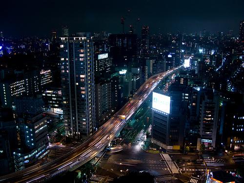 フリー画像  人工風景  建造物/建築物  街の風景  夜景  ビルディング  日本風景  東京 