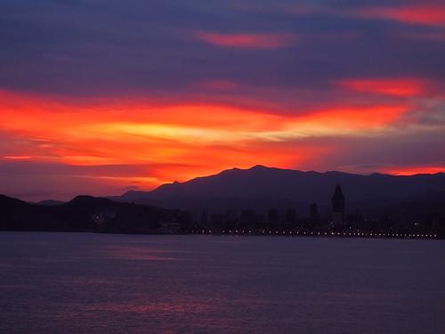 フリー画像| 自然風景| 空の風景| 夕日/夕焼け/夕暮れ| 海の風景| スペイン風景| ベニドーム|