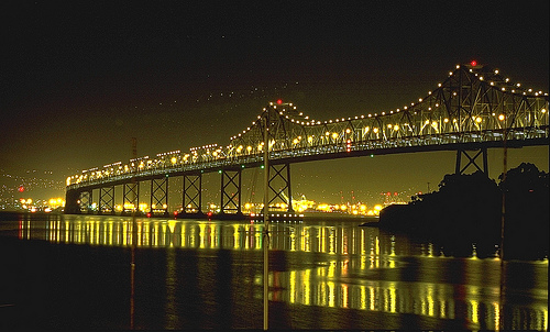フリー画像  人工風景  建造物/建築物  橋の風景  夜景  アメリカ風景  サンフランシスコ 