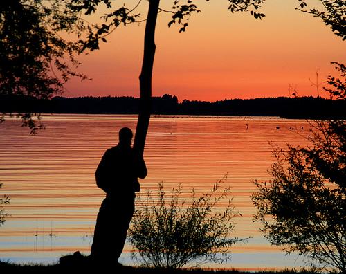 フリー画像| 人物写真| 一般ポートレイト| シルエット| 夕日/夕焼け/夕暮れ| 樹木の風景| 湖の風景|