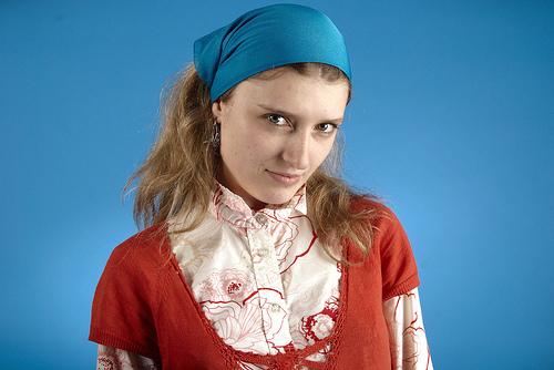 フリー画像  人物写真  女性ポートレイト  白人女性  バンダナ 