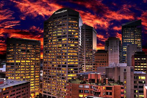 フリー画像| 人工風景| 建造物/建築物| ビルディング| 街の風景| オーストラリア風景| メルボルン| HDR画像| 夕日/夕焼け/夕暮れ|