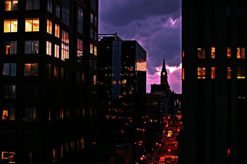 フリー画像| 人工風景| 建造物/建築物| 街の風景| 夜景| ビルディング| カナダ風景| オタワ|
