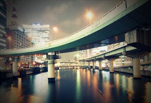 フリー画像| 人工風景| 建造物/建築物| 街の風景| 橋の風景| 夜景| 日本風景|