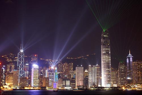 フリー画像| 人工風景| 建造物/建築物| 夜景| ビルディング| 街の風景| 中国風景| 香港|