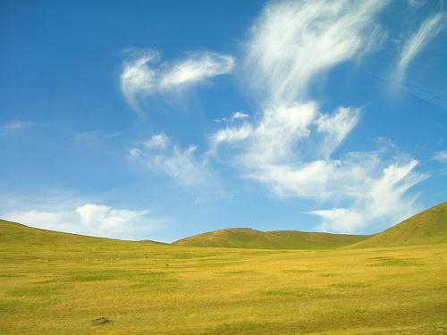 フリー画像| 自然風景| 空の風景| 雲の風景| 丘の風景| モンゴル風景|
