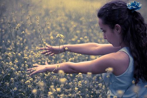 フリー画像| 人物写真| 女性ポートレイト| ラテン系女性| 花畑|