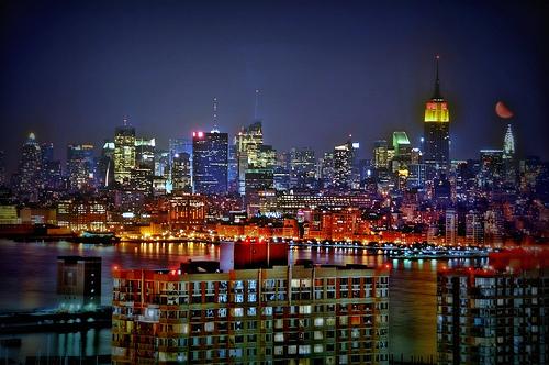フリー画像| 人工風景| 建造物/建築物| 街の風景| 夜景| ビルディング| HDR画像| アメリカ風景| ニューヨーク|