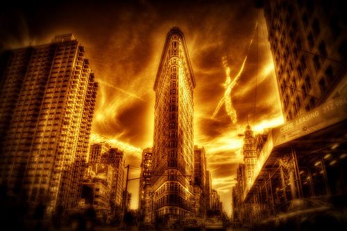 フリー画像| 人工風景| 建造物/建築物| 街の風景| ビルディング| 橙色/オレンジ| アメリカ風景| ニューヨーク|