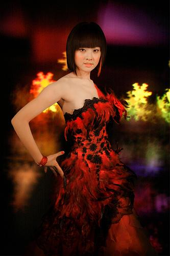 フリー画像| 人物写真| 女性ポートレイト| アジア女性| ドレス| ショートヘアー|
