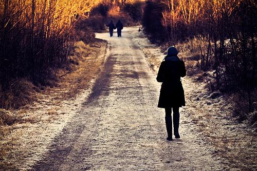 フリー画像| 人物写真| 一般ポートレイト| 後ろ姿| 道の風景|