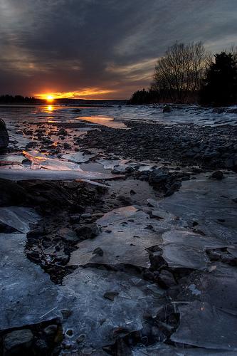 フリー画像| 自然風景| 夕日/夕焼け/夕暮れ| 海岸の風景| カナダ風景|