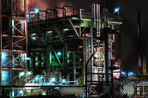 フリー画像|人工風景|建造物/建築物|工場の風景|夜景|オーストラリア風景|フリー素材|