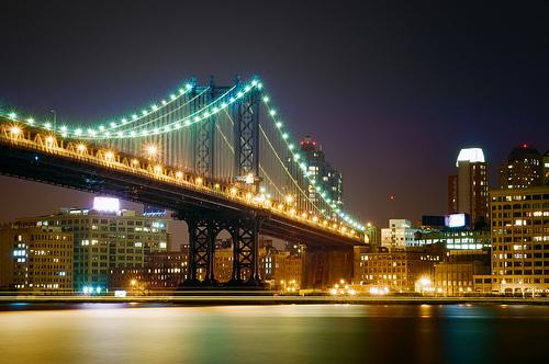 フリー画像| 人工風景| 建造物/建築物| 橋の風景| 夜景| 街の風景| アメリカ風景| ニューヨーク|    フリー素材|