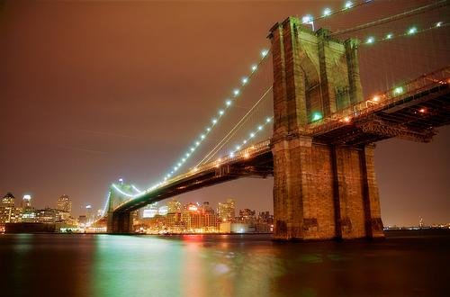 フリー画像| 人工風景| 建造物/建築物| 橋の風景| 夜景| アメリカ風景| ニューヨーク| HDR画像|    フリー素材|