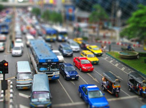 フリー画像|人工風景|街の風景|自動車|渋滞|ティルト・シフト|フリー素材|