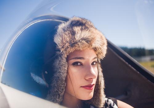 フリー画像| 人物写真| 女性ポートレイト| 白人女性| パイロット|