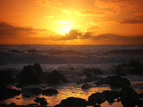 フリー画像| 自然風景| 空の風景| 海の風景| 夕日/夕焼け/夕暮れ| 水平線/地平線| 海岸の風景|