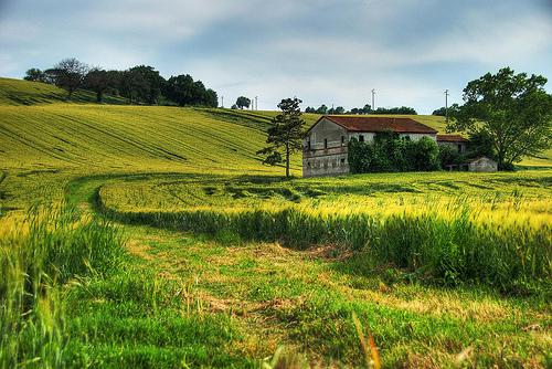 フリー画像| 人工風景| 小屋/納屋| 草原の風景|        フリー素材|