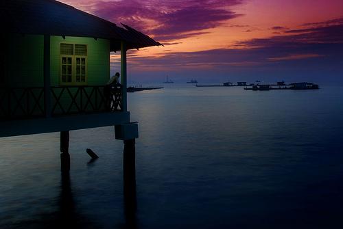 フリー画像| 人工風景| 建造物/建築物| 海の風景| 青色/ブルー| マレーシア風景| ペナン島|