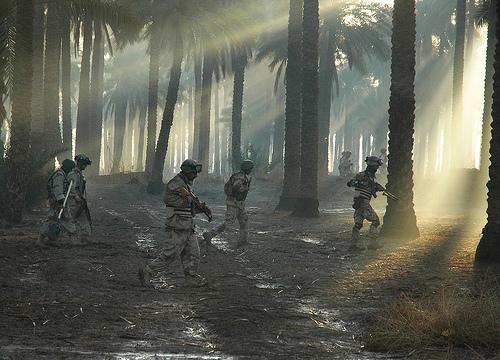 フリー画像| 戦争写真| 兵士/ソルジャー| 人物写真| アメリカ軍兵士| 森林/山林| 太陽光線| イラク風景|