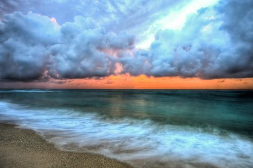 フリー画像| 自然風景| 海の風景| 雲の風景| ビーチ/海辺| 朝日/朝焼け| アメリカ風景| フロリダ州| HDR画像|