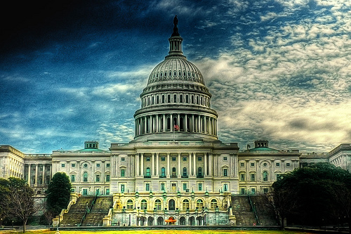 フリー画像  人工風景  建造物/建築物  アメリカ合衆国議会議事堂  アメリカ風景  ワシントン  HDR画像 