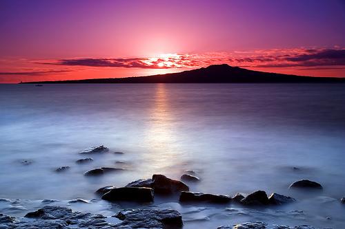 フリー画像| 自然風景| 海の風景| 朝日/朝焼け| ニュージーランド風景| 青色/ブルー|
