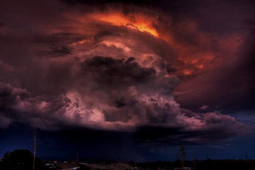 フリー画像| 自然風景| 空の風景| 雲の風景| 夕日/夕焼け/夕暮れ| 暗雲の風景| HDR画像|
