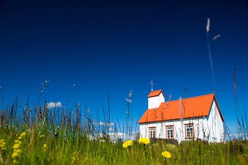 フリー画像| 人工風景| 建造物/建築物| 教会/聖堂| 草原の風景| たんぽぽ/タンポポ| アイスランド風景|