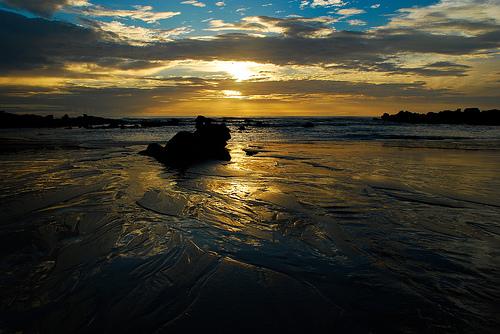 フリー画像| 自然風景| 海の風景| 雲の風景| 夕日/夕焼け/夕暮れ| ビーチ/海辺| コスタリカ風景|