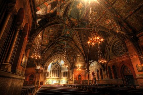 フリー画像| 人工風景| 建造物/建築物| 教会/聖堂| インテリア| セージチャペル| コーネル大学| アメリカ風景| HDR画像|