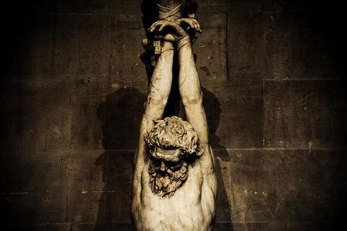フリー画像| 人工風景| 彫刻/彫像| イエス・キリスト像| セピア|