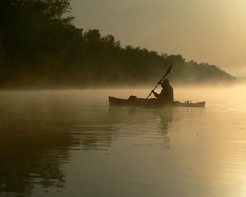 フリー画像| 自然風景| 河川の風景| 霧/靄| カヌー| アメリカ風景| オクラホマ州|