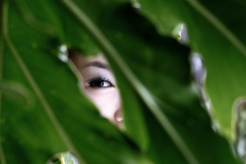 フリー画像| 人物写真| 女性ポートレイト| アジア女性| 葉っぱ|       フリー素材|
