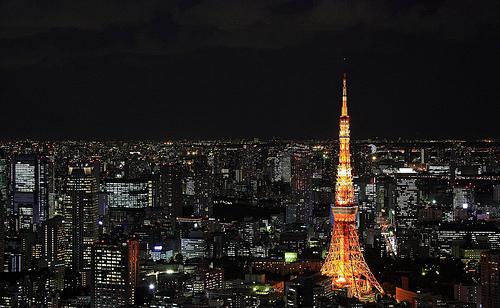 フリー画像| 人工風景| 建造物/建築物| 街の風景| 東京タワー| 夜景| 塔/タワー| 日本風景| 東京|   フリー素材|