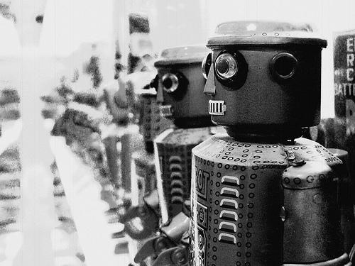 フリー画像| 物/モノ| おもちゃ/トイ| ロボット| モノクロ写真|       フリー素材|