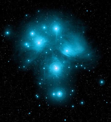 フリー画像| 自然風景| 夜空の風景| 星の風景| プレアデス星団/昴| おうし座|      フリー素材|
