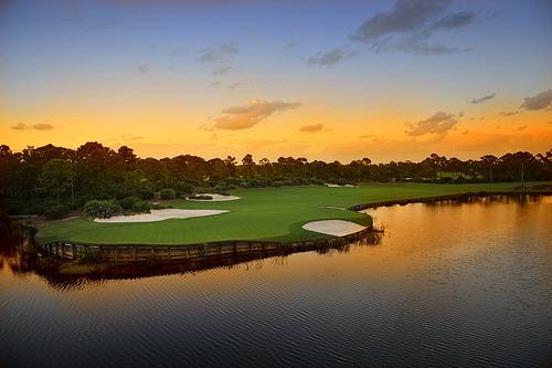 フリー画像| 人工風景| ゴルフ場| 夕日/夕焼け/夕暮れ| アメリカ風景|       フリー素材|
