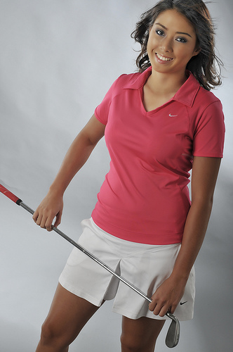 フリー画像| 人物写真| 女性ポートレイト| アジア女性| ゴルフ| ゴルフウェア|      フリー素材|