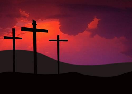 フリー画像| 人工風景| 十字架| 夕日/夕焼け/夕暮れ| シルエット| 赤色/レッド|      フリー素材|