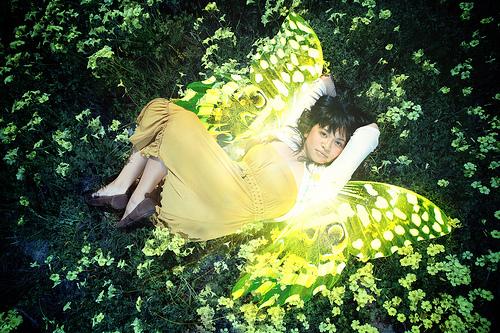 フリー画像| 人物写真| 女性ポートレイト| アジア女性| 妖精| 緑色/グリーン|      フリー素材|