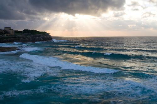 フリー画像| 自然風景| 海の風景| 朝日/朝焼け| オーストラリア風景| 太陽光線|      フリー素材|
